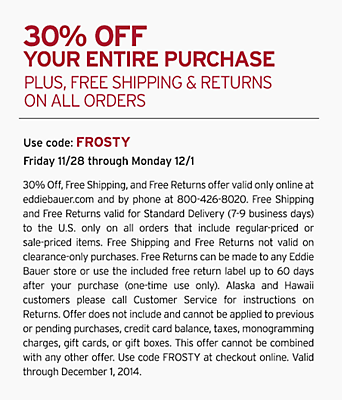 30% Off Your Entire Purchase. Plus, Free shipping & returns on all orders. Use code: FROSTY. 