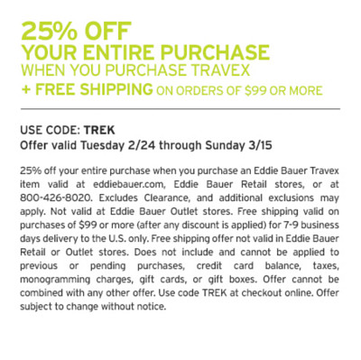 25% Off Your Entire Purchase When You Purchase Travex + Free Shipping On Orders Of $99 Or More - Use Code: TREK