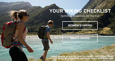 Your hiking checklist. Technical essentials for the trail. Womens hiking. Mens hiking. Eddie Bauer athletes Cory Richards and Lynsey Dyer.