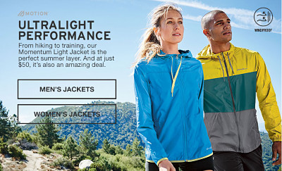 Ultimate performance. From hiking to training our Momentum Light Jacket is the perfect summer layer. And at just $50, it's also an amazing deal.