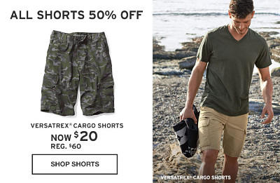 All Shorts On Sale. Up to 60% off. Now - $24.99. Reg - $60