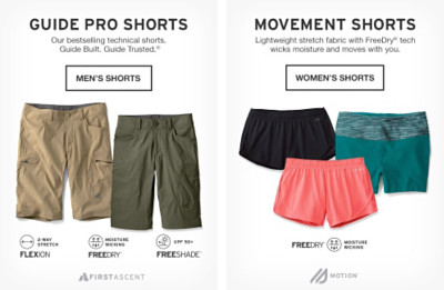 Men's Shorts from 60% off. Women's Shorts from 50% off.