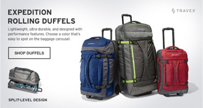 BExpedition Rolling Duffels with split level design.