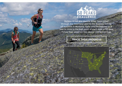 50 Peaks Challenge. Eddie Bauer guide and Mt. Everest American women's record holder Melissa Arnot, and guide in training Maddie Miller, are on a mission to climb the highest peak in every state in 50 days. Learn more about their epic climbing road trip and use our interactive map to follow their progress.