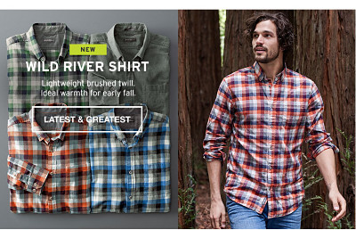 Wild River Shirt. Lightweight brushed twill. Ideal warmth for early fall.
