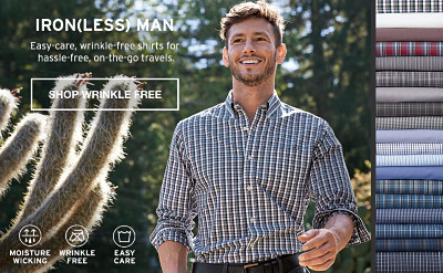 Iron(less) Man. Easy Care, wrinkle-free shirts for hassle-free, on-the-go travels.