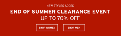 End Of Summer Clearance Event. Up to 70% Off