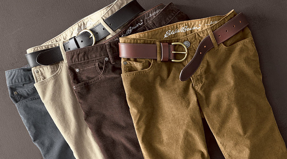 Colorfull arrangement of corduroy pants