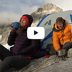 Two Eddie Bauer guides take a coffee break while climbing in New Zealand