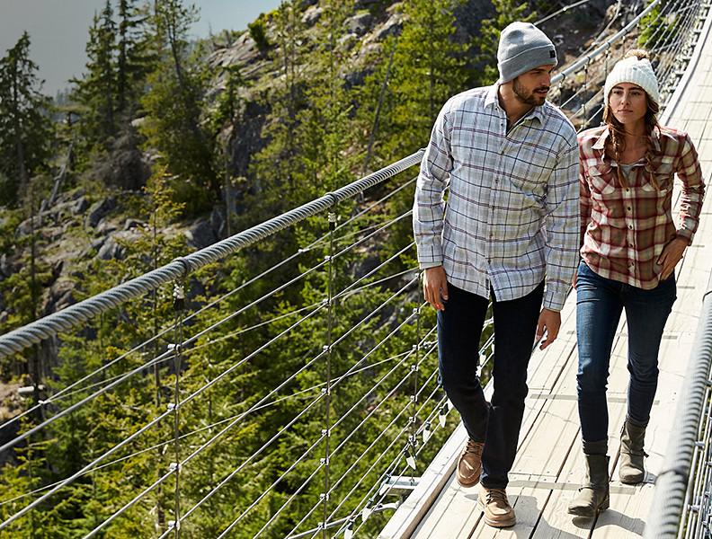 Two people walking on a suspension bridge