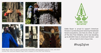 Hug a tree, take a photo, hashtag it, and we'll donate $50 to the One Tree Initiative. We're helping American Forests restore threatened forest ecosystems, one tree at a time. Donate now.