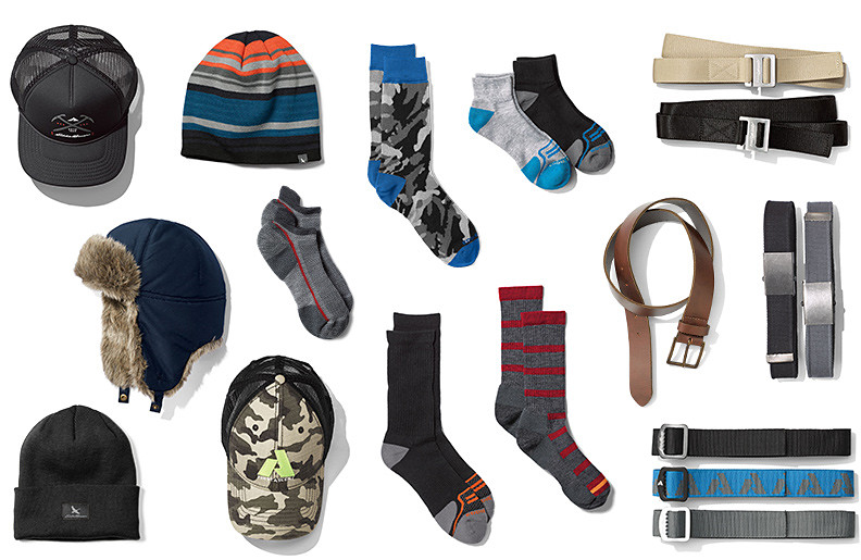 Hats, socks, and belts for men