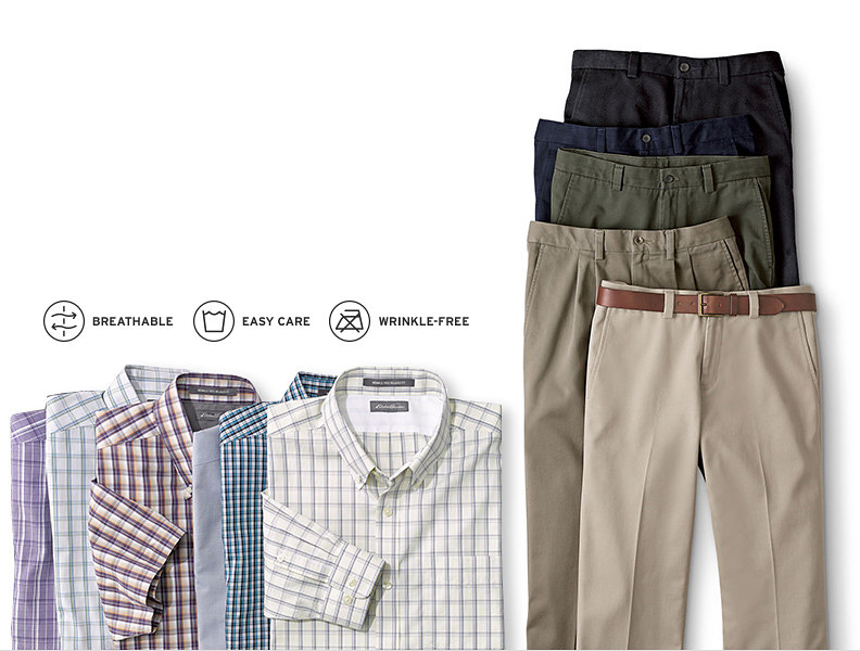 Wrinkle-free shirts and pants for men