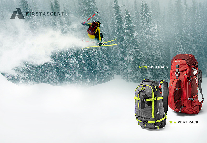 Sisu and Vert packs built for backcountry skiing and snowboarding