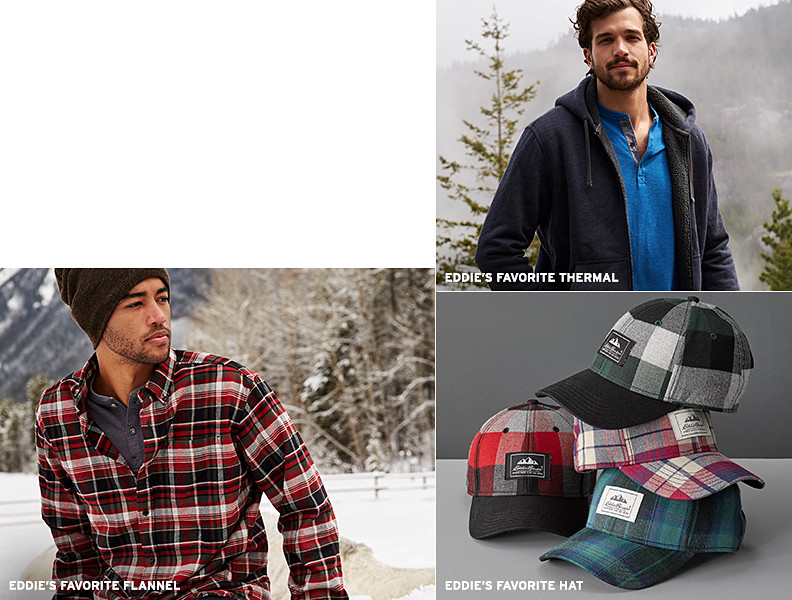 Eddie's favorite flannel shirts, thermal henleys, and plaid hats