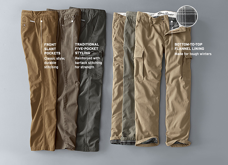 New flannel-lined chinos for men