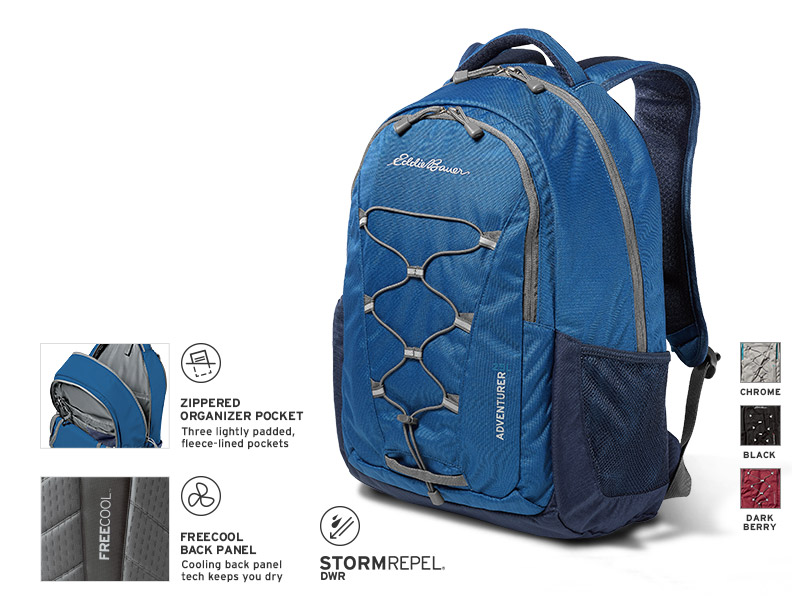 Image of the Adventurer 25L Pack showing some of the pack's features.
