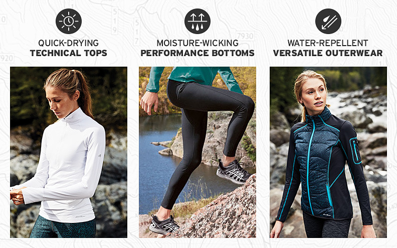 Technical tops, pants, and outerwear for outdoor training.