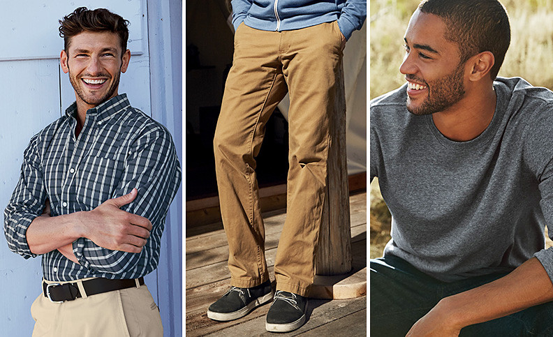 Wrinkle-free essentials, Legend Wash Pants, and extended sizes for men