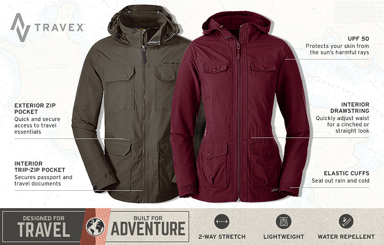 Atlas soft shell travel jackets for men and women