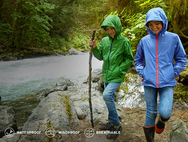 Image of kids in rain jackets hiking by a stream