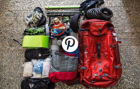 Image of the contents of a climber's backpack
