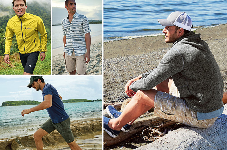 A collage of images of men wearing Eddie Bauer shorts