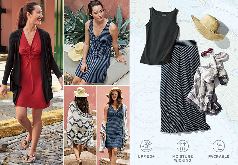 A collage of images featuring Aster dresses, skirts and tops