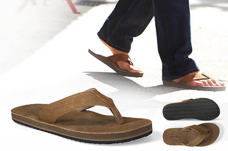 Image of a man wearing flip flops