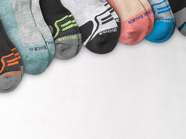 Images of different colored socks