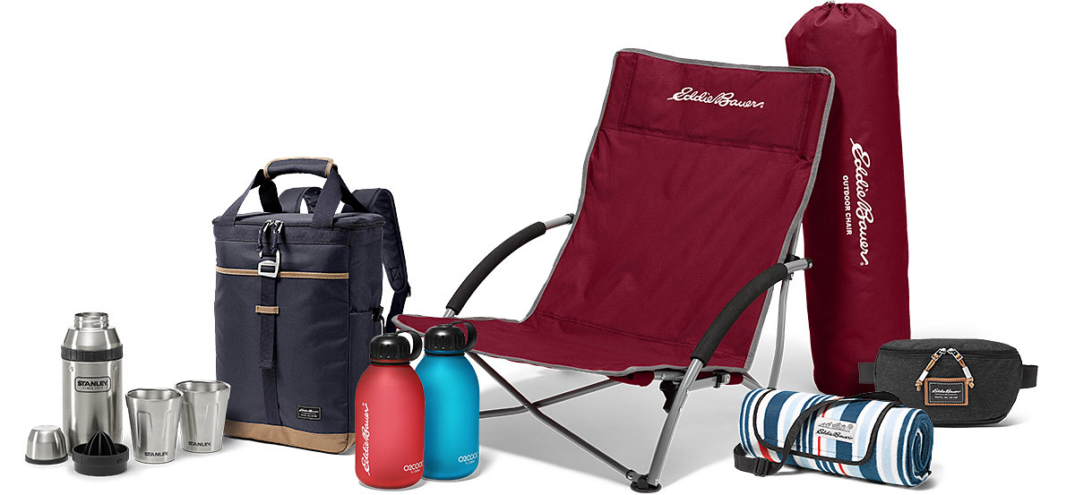 Beach chair, backpack cooler, beach blanket, water bottles