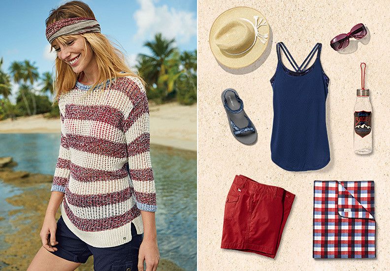 Image of a woman wearing a sweater on the beach, plus images of shorts, sandals, tops and more.