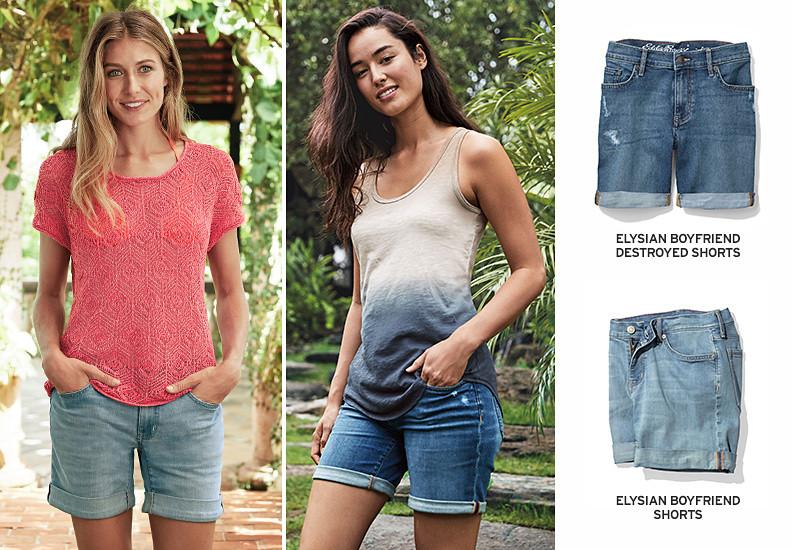 Images of women wearing boyfriend shorts
