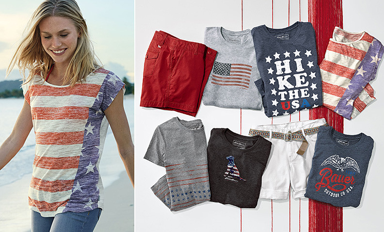 Images of red, white and blue graphic T-shirts