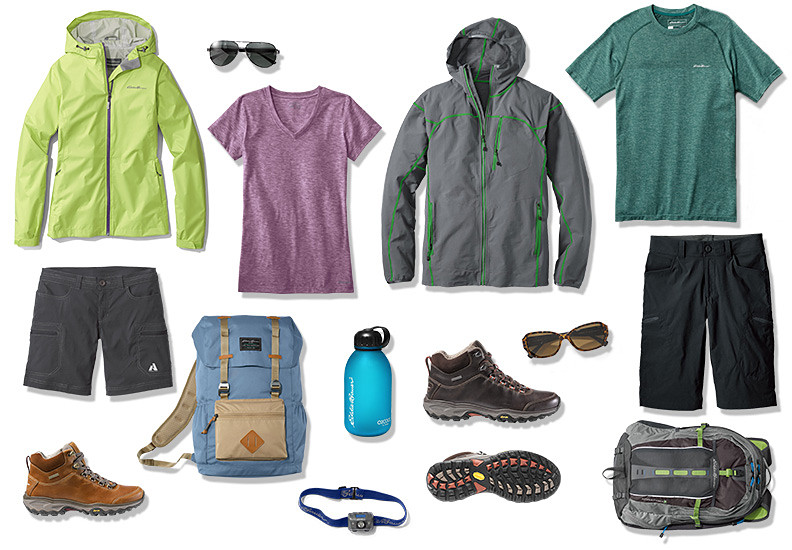 Images of hiking apparel, footwear and gear