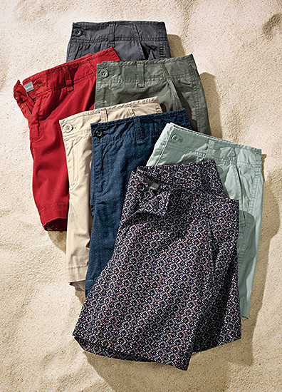 An array of women's shorts in different colors and patterns