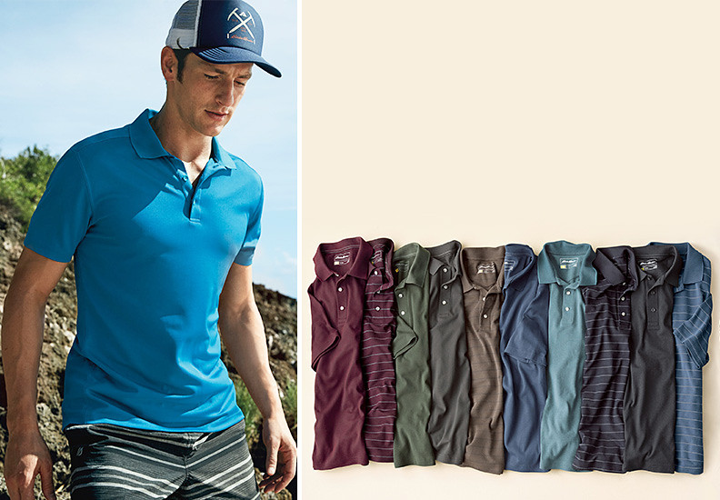 A man hiking in a Resolution Polo Shirt