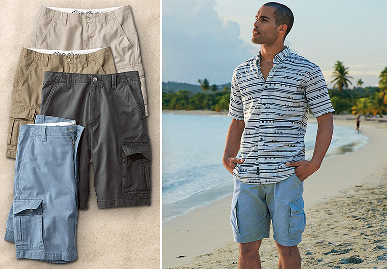 Image of a man wearing cargo shorts on the beach