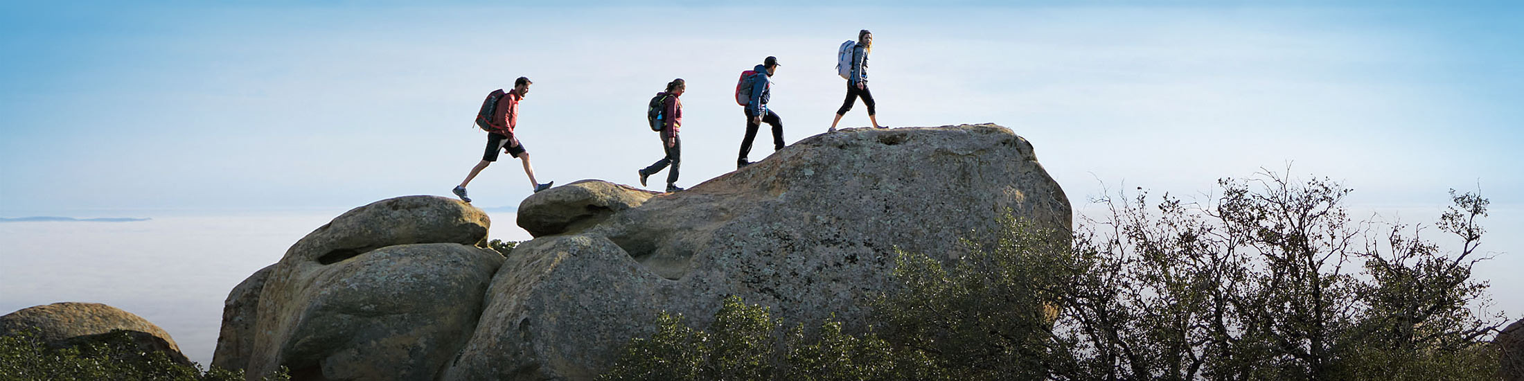 Four hikers silhouetted against blue sky