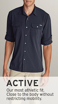 Sillhouette of an active fit shirt