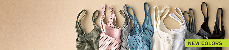 A variety of layering camis in different colors and patterns.