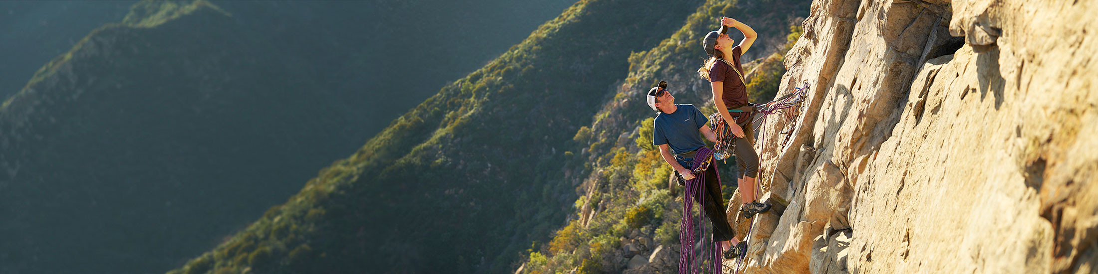 Eddie Bauer climbing athlete Ben Ditto and companion navigate a route on Gibraltar Rock in California's Los Padres National Forest
