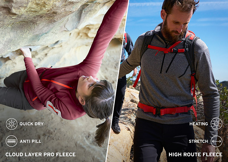 A woman rock climbing in a fleece jacket, and a man hiking in a fleece 1/4-zip