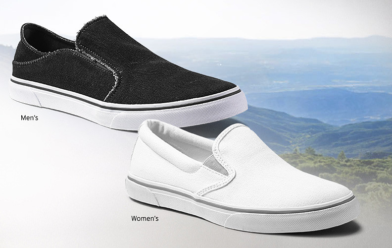 Images of canvas slip-on shoes with a background of mountains and hills
