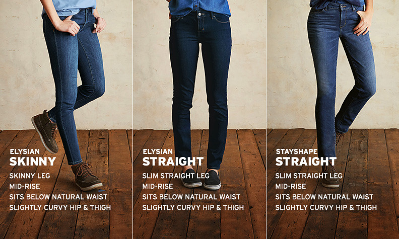 Rotating images of different styles and fits of women's jeans