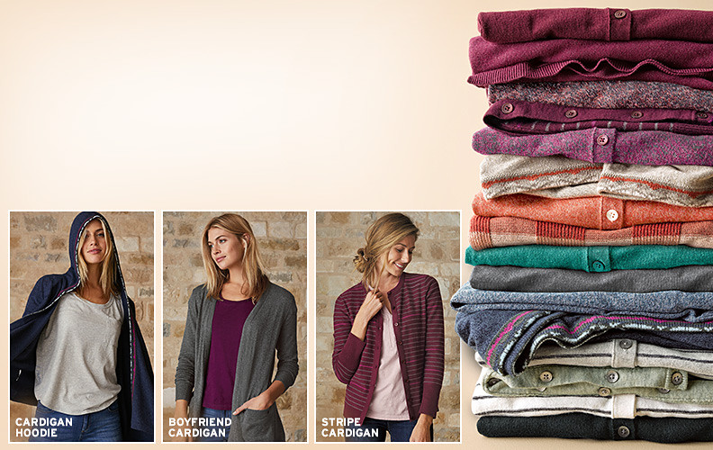 A stack of sweaters showing different styles and colors, plus three women wearing different styles