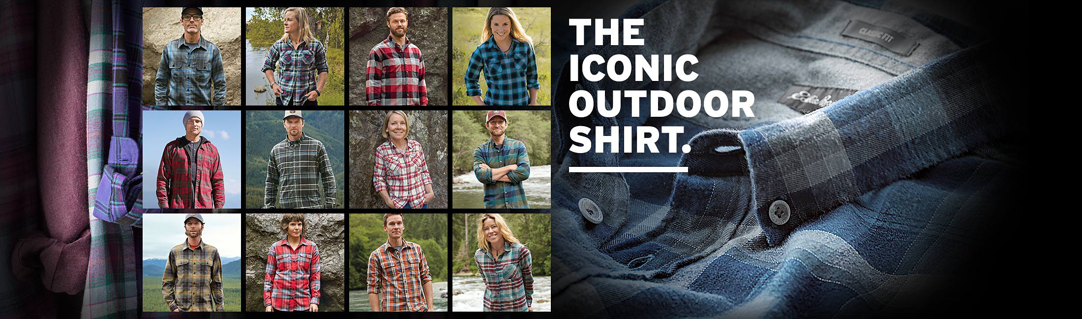 Images of our guides and athletes wearing different flannel shirts