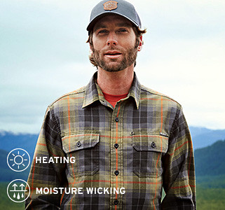 Eddie Bauer snowboarding athlete Wyatt Caldwell wearing an Expedition Flannel Shirt