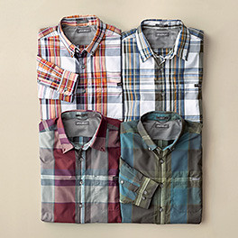 Different colors and patterns of men's travel shirts