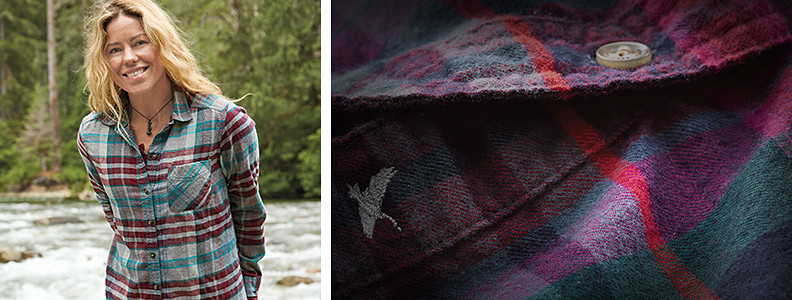 Eddie Bauer skiing athlete Lyndsay Dyer wearing a Boyfriend Flannel Shirt
